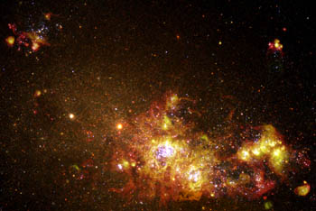 New stars bursting into life in a nearby galxy. Picture courtesy of NASA